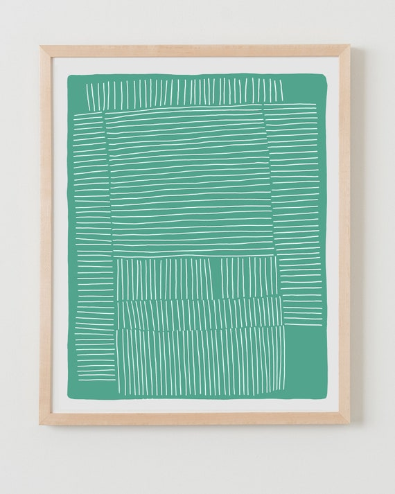 Fine Art Print. Green Abstract with White Stripes. Available Framed or Unframed.