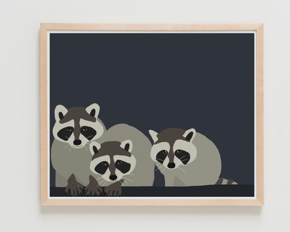 Fine Art Print. Baby Raccoons. Available Framed or Unframed.