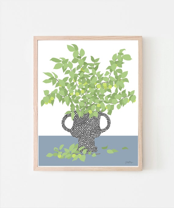 Still Life with Fruit Tree Branches Art Print. Signed. Available Framed or Unframed.  200404.