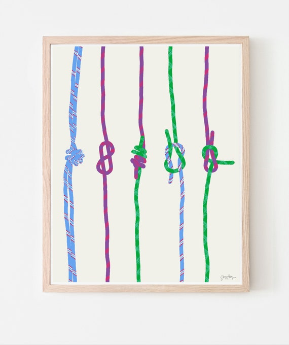 Rock Climbing Ropes with Knots Art Print.  Framed or Unframed. 120306.