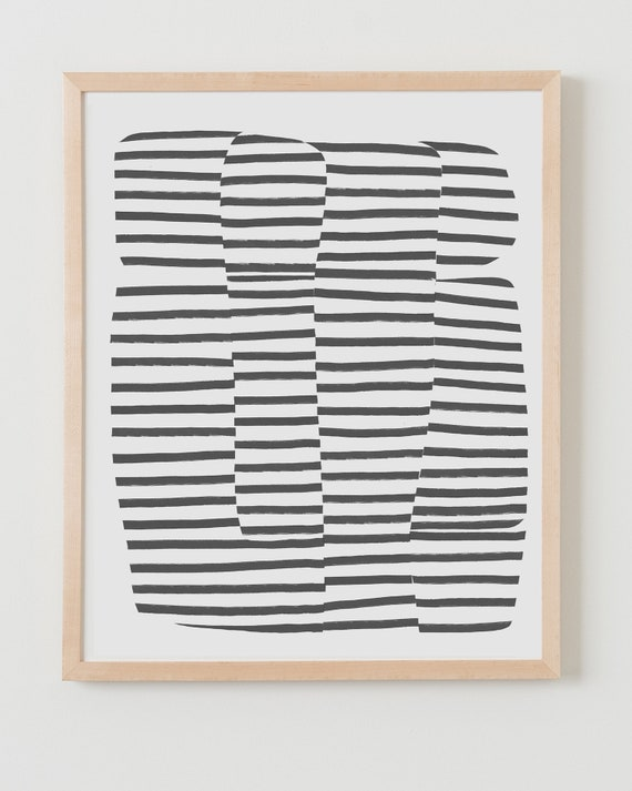 Fine Art Print.  Abstract with Black Stripes. Available Framed or Unframed.