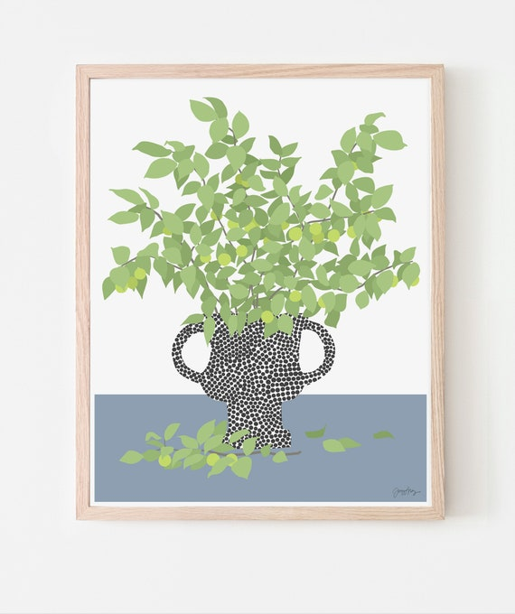 Still Life with Fruit Tree Branches Art Print. Available Framed or Unframed.  200404.
