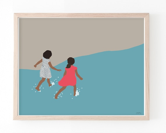 Sisters at the Beach Art Print. Multiple Sizes. Framed or Unframed.  160614.