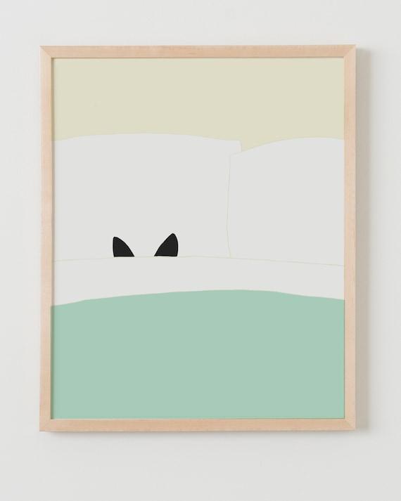 Fine Art Print. Kitty Goes Undercover. Available Framed or Unframed.