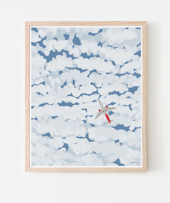 Sky with Airplane and Clouds Art Print. Multiple Sizes. Available Framed or Unframed. 140130.