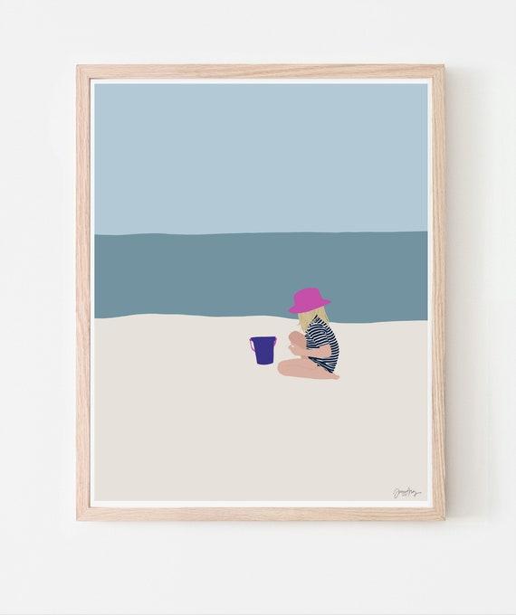 Girl at Beach Art Print. Multiple Sizes. Framed or Unframed. 130618.