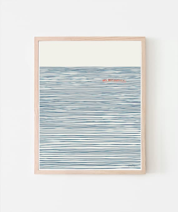 Container Ship on Striped Ocean Art Print. Signed. Available Framed or Unframed. 140106.