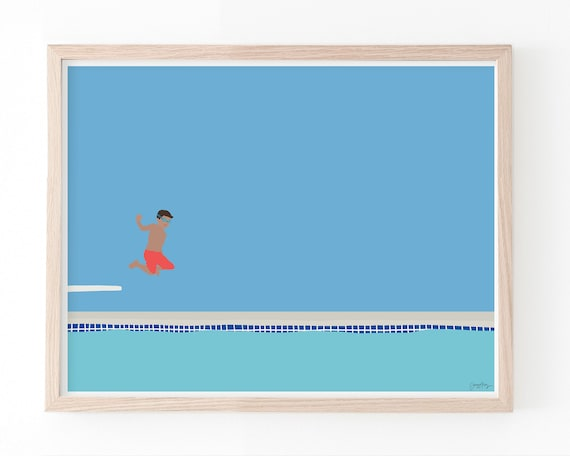 Boy Jumping into Swimming Pool Art Print. Available Framed or Unframed. 150713.