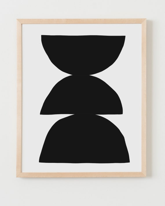 Fine Art Print.  Abstract with Black Shapes. Available Framed or Unframed.
