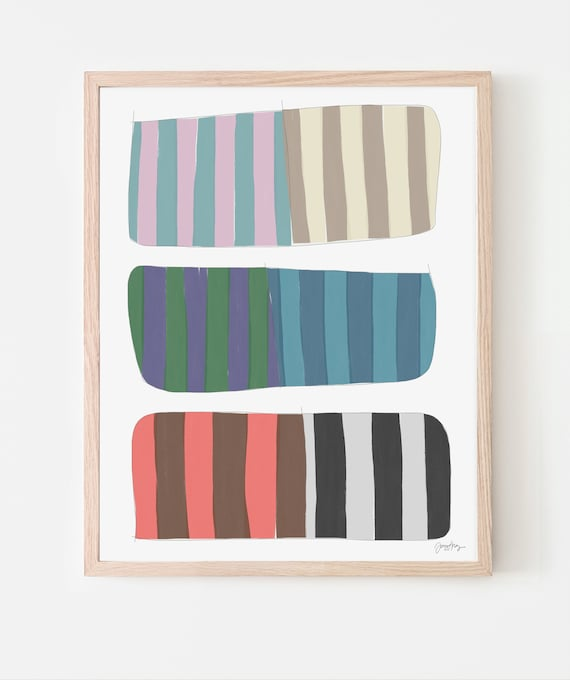 Abstract Stripes Art Print. Available Framed or Unframed. Multiple Sizes. 171001.