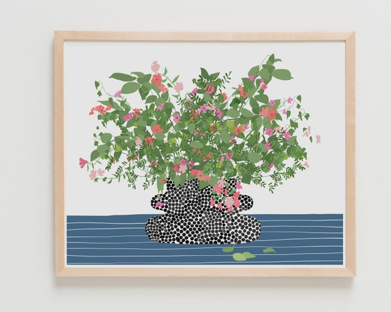 Fine Art Print. Still Life with Black Dotted Vase. Available Framed or Unframed.