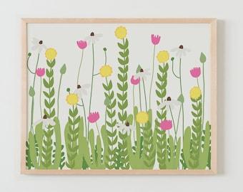 Fine Art Print.  Flowers in Garden. Available Framed or Unframed.