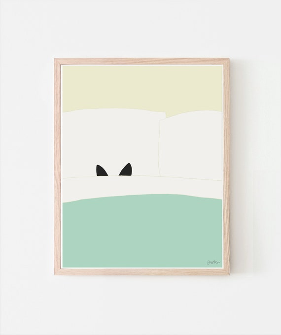 Kitty Hides in Bed Art Print. Signed. Available Framed or Unframed. 111101.