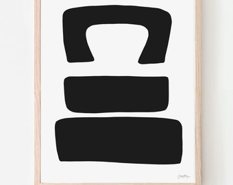 Abstract Art Print with Black Shapes. Signed. Available Framed or Unframed. Multiple Sizes. 200717.
