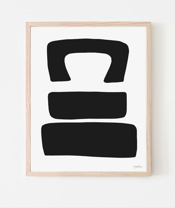 Abstract Art Print with Black Shapes. Available Framed or Unframed. Multiple Sizes. 200717.