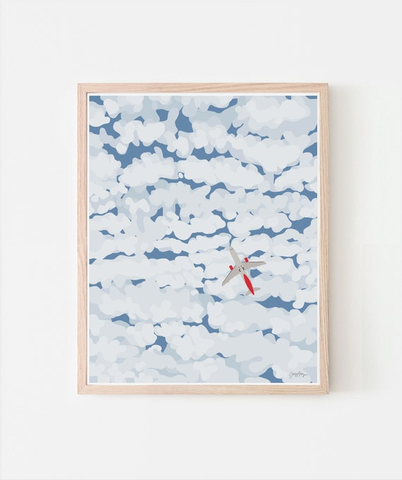 Sky with Airplane and Clouds Art Print. Signed. Multiple Sizes. Available Framed or Unframed. 140130.