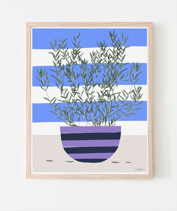 Still Life with Olive Branches in Striped Bowl. Available Framed or Unframed. 210415.