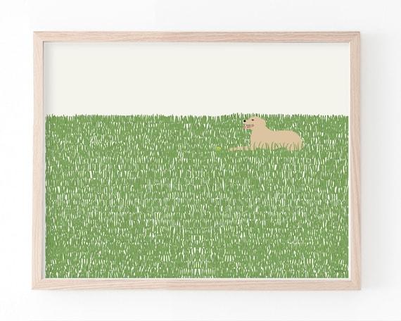 Happy Dog in Grass Art Print. Framed or Unframed. Multiple Sizes Available. 141008.