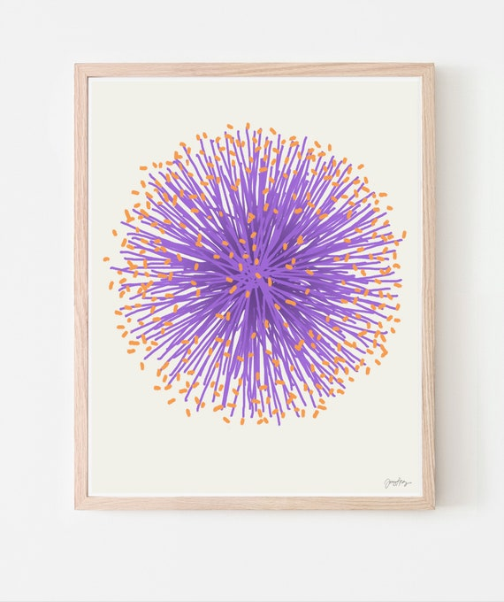 Purple Puff Flower Art Print. Framed or Unframed. Multiple Sizes Available. 110705.