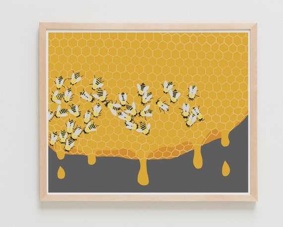 Busy Honey Bees Art Print. Available Framed or Unframed.