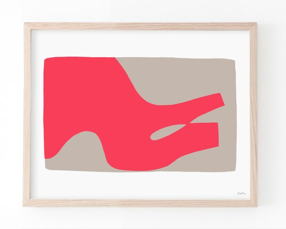 Abstract Art Print with Coral and Tan. Available Framed or Unframed. Multiple Sizes. 190301.