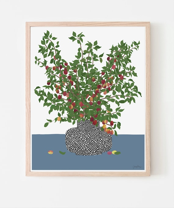Still Life with Plum Branches Art Print. Framed or Unframed. Multiple Sizes Available. 200419.