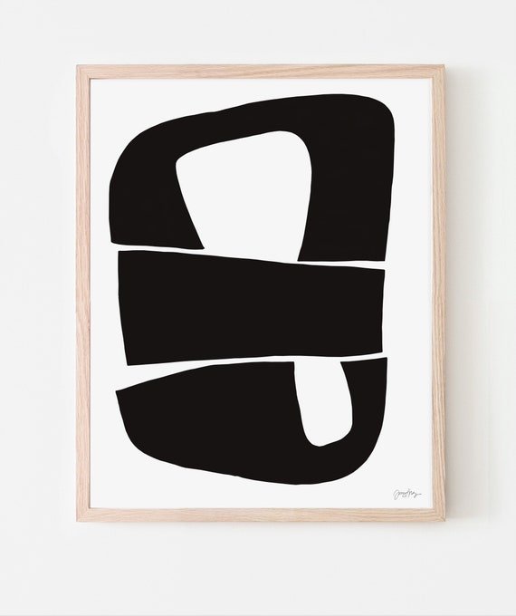 Abstract Art Print with Black Shapes. Available Framed or Unframed. Multiple Sizes. 200624.