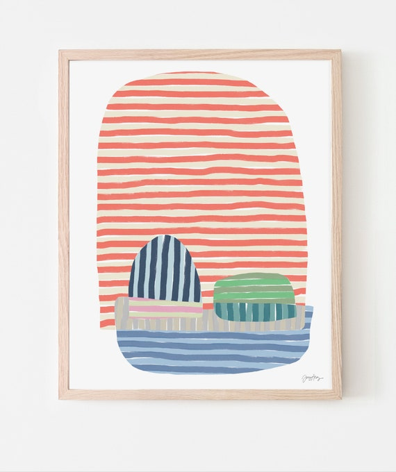Abstract Art Print with Orange Stripes. Multiple Sizes. Available Framed or Unframed. 170908.