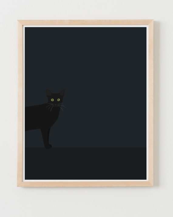 Fine Art Print.  Black Cat at Night. Available Framed or Unframed.