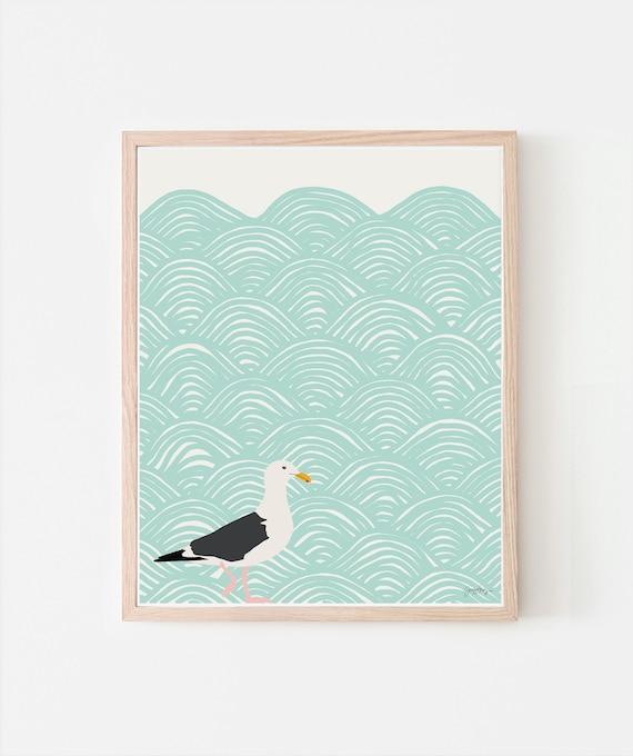 Seagull Art Print. Signed. Multiple Sizes. Framed or Unframed. 120723.