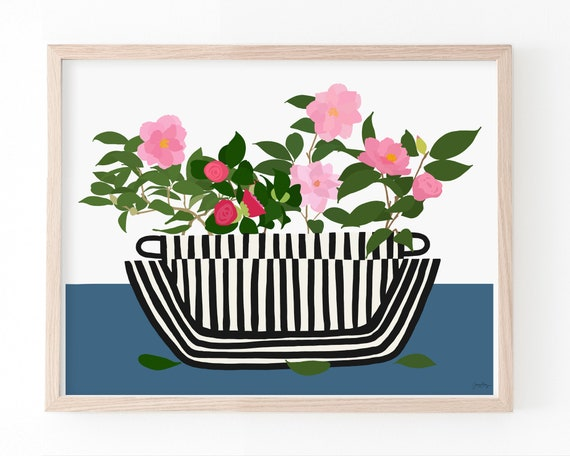Still Life with Camelias in Striped Bowl Art Print. Available Framed or Unframed. Multiple Sizes. 210222.