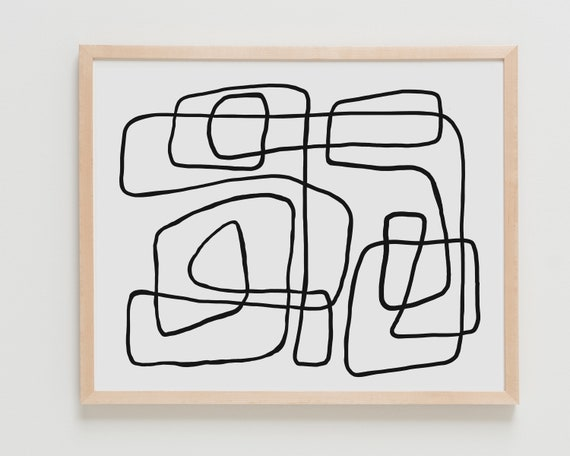 Fine Art Print.  Abstract with Black Line. Available Framed or Unframed.