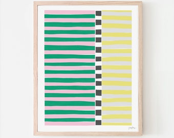 Colorblock Stripes Pink and Green Art Print. Signed. Available Framed or Unframed. 200810.