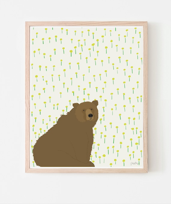 Bear and Dandelions Art Print. Available Framed or Unframed. Multiple Sizes. 121023.