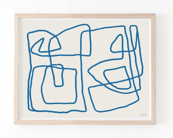 Abstract with Blue Line Art Print. Available Framed or Unframed. 181002.