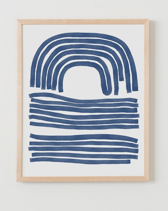 Fine Art Print.  Abstract with Blue Lines. Available Framed or Unframed.
