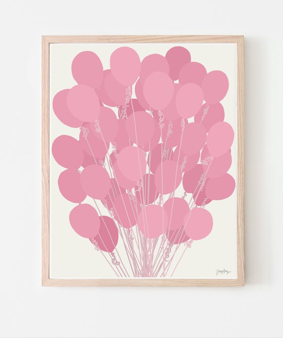 Pink Balloons Art Print. Available Framed or Unframed. Multiple Sizes. 210225.