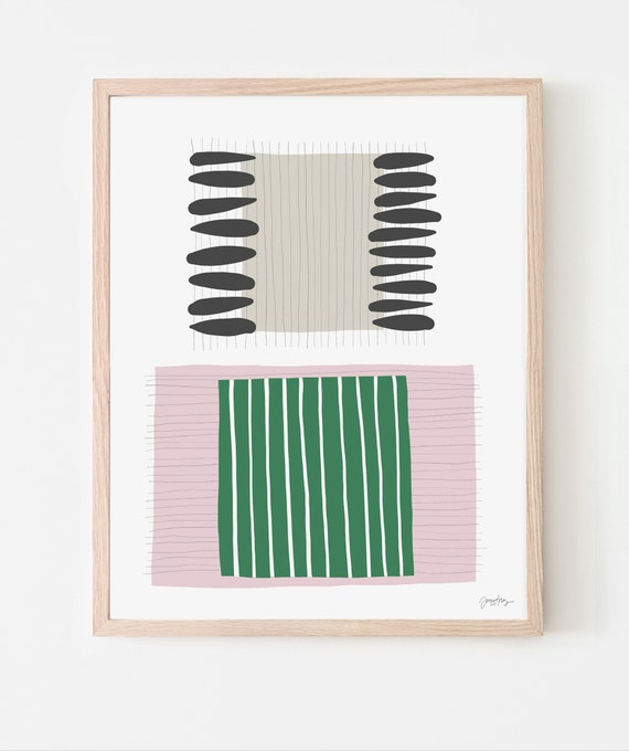Abstract Art Print with Pink and Green Stripes. Available Framed or Unframed. 190716.