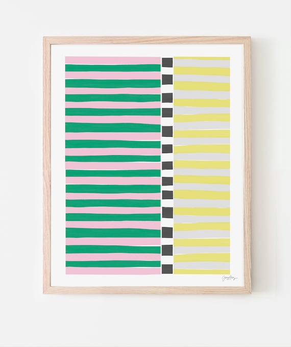 Colorblock Stripes Pink and Green Art Print. Available Framed or Unframed. 200810.