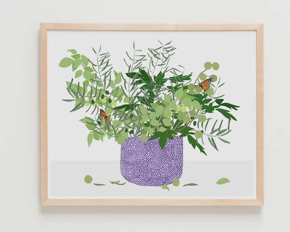 Framed Fine Art Print.  Still Life with Dots, Branches, and Insects, February 28, 2020.