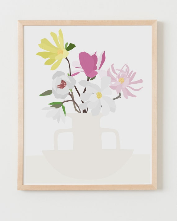 Fine Art Print. Still Life with Magnolias. Available Framed or Unframed.