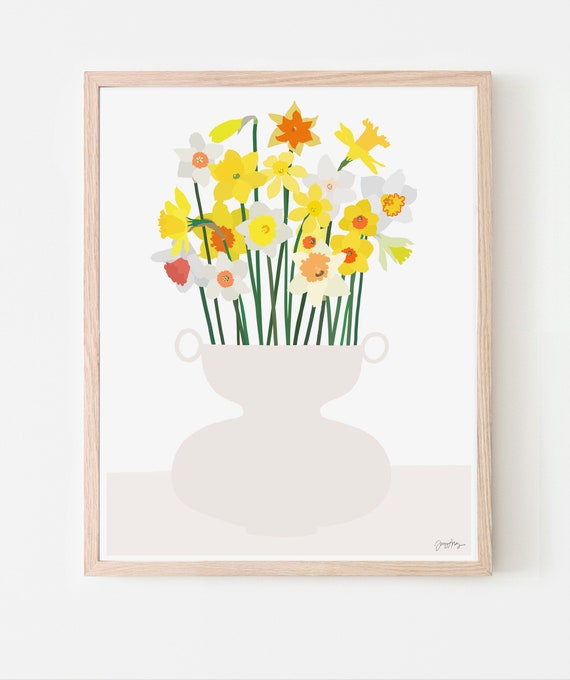 Still Life with Daffodils Art Print. Available Framed or Unframed. 200816.