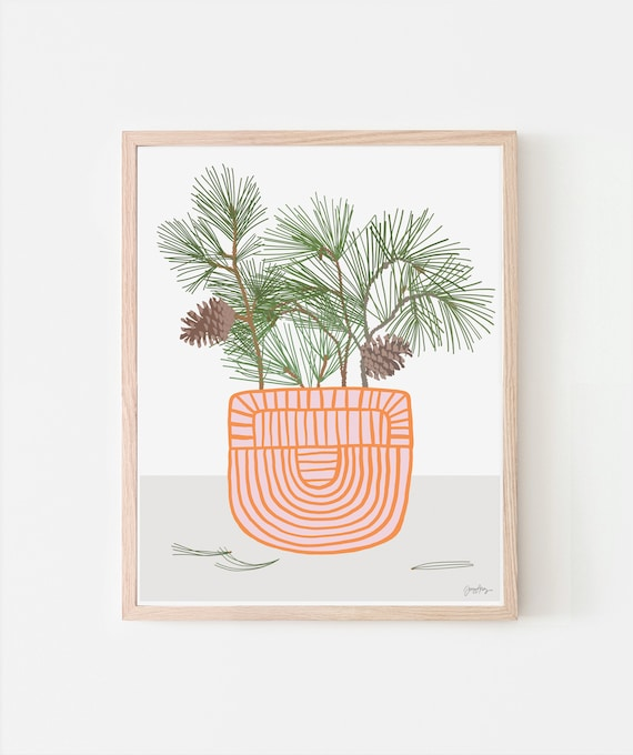 Still Life with Pine Branches in Vase Art Print. Signed. Available Framed or Unframed. Multiple Sizes. 210109.