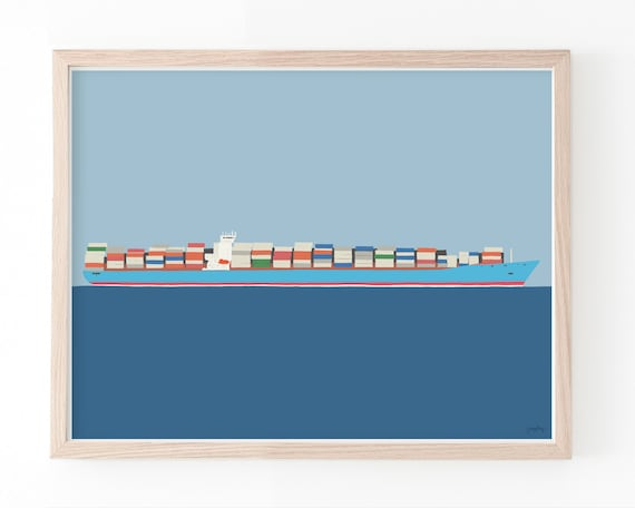 Container Ship Art Print. Framed or Unframed. Multiple Sizes Available. 160111.