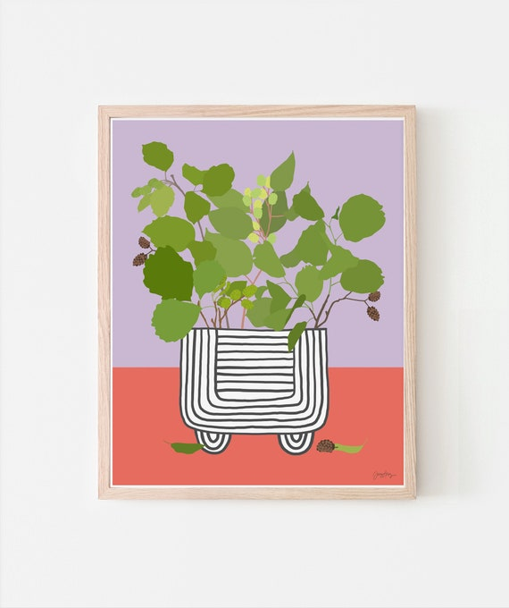 Still Life with Alder Branches in Striped Vase Art Print. Signed. Available Framed or Unframed. Multiple Sizes. 201219.