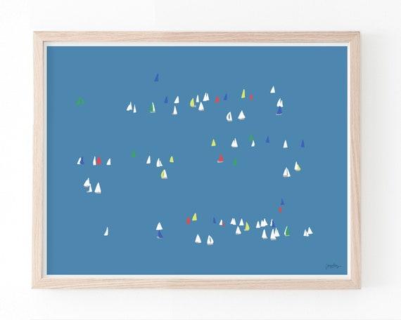 Sailboats on the Bay Art Print. Multiple Sizes. Framed or Unframed. 160216.