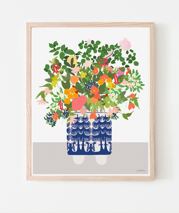 Still Life with Flowers and Blue and White Vase. Available Framed or Unframed. 201008.