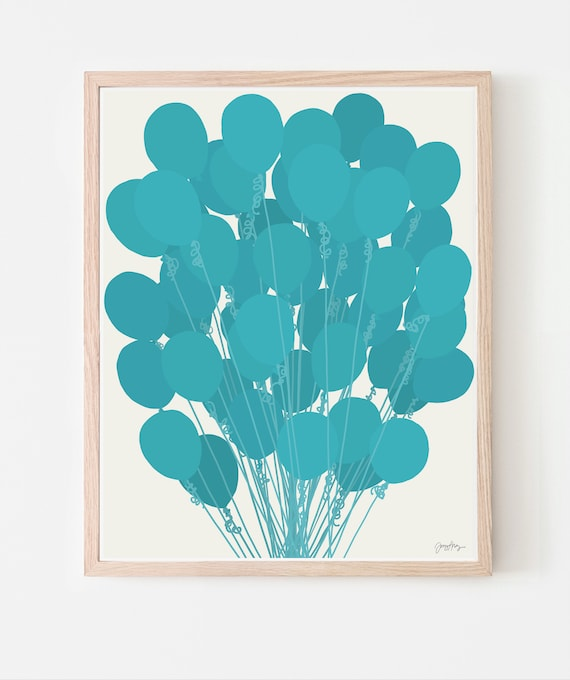 Blue Balloons Art Print. Available Framed or Unframed. Multiple Sizes. 210225.