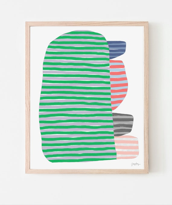 Abstract Stripes with Green Art Print. Available Framed or Unframed. 170920.