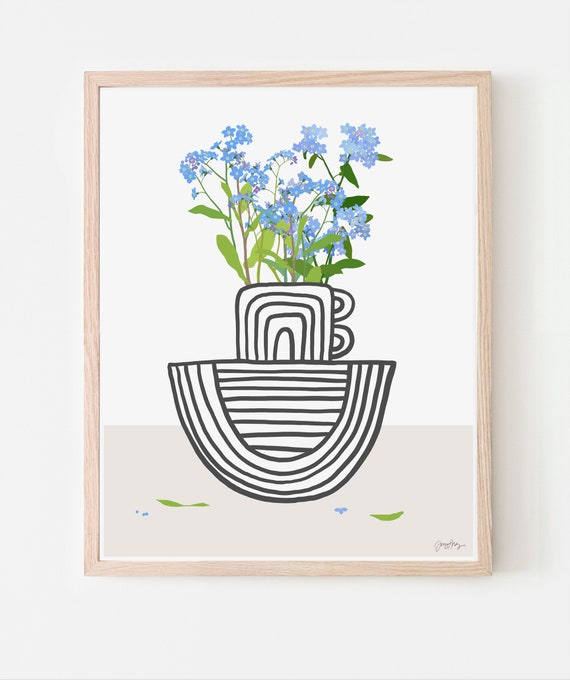Still Life with Forget Me Nots in Striped Vase Art Print. Available Framed or Unframed. Multiple Sizes. 201123.